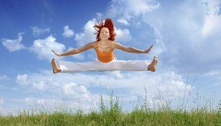 Jumping girl splits